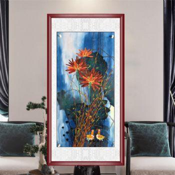 高品质手绘国画仿黄永玉荷花图水墨花鸟画实木画框花鸟画手绘荷花