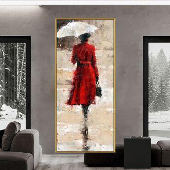 纯手绘油画抽象人物油画雨中那个红衣女人客厅装饰画厚油玄关竖版挂画适合酒店客厅装饰挂画