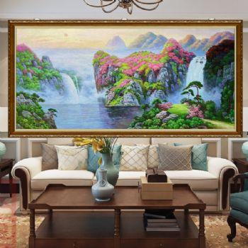 新中式青山绿水写实山水画精品手绘油画风景油画鹤舞升平风景画适合大厅客厅酒店餐厅挂的画