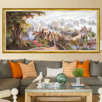 Hand painted landscape painting New Chinese oil painting landscape painting great wall landscape painting suitable for hall decoration oil painting酒店大厅适合什么画