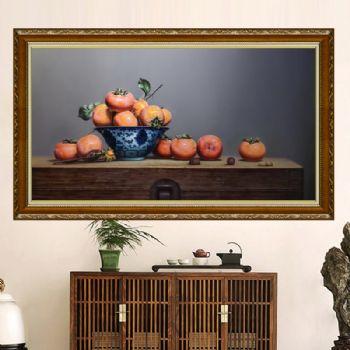新中式柿柿如意超写实静物油画柿子纯手绘精品油画实木画框适合客厅卧室的油画适合客厅卧室的静物油画