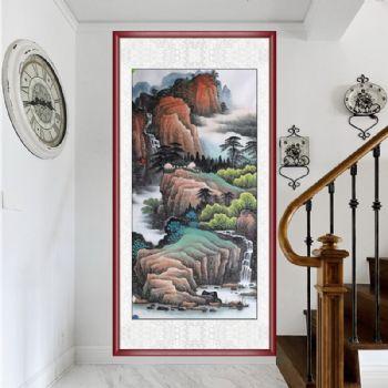 纯手绘彩墨四尺中式山水画工笔国画实木画框玄关适合什么样的山水画