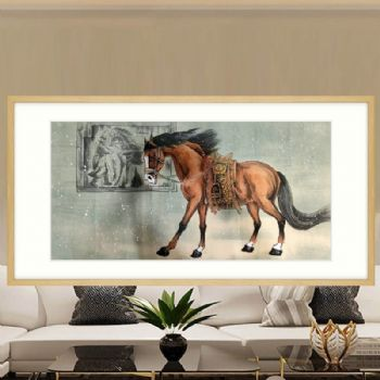 Feng Shui animal traditional Chinese painting pure hand-painted animal painting log frame cardboard core modern style frame客厅挂什么动物国画