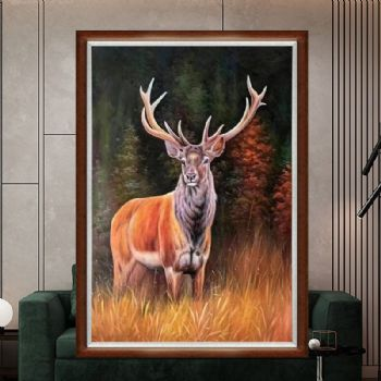 Realistic hand-painted oil painting elk animal oil painting implies all the way up. Fine hand-painted oil painting is suitable for oil painting in the living room and office写实动物油画