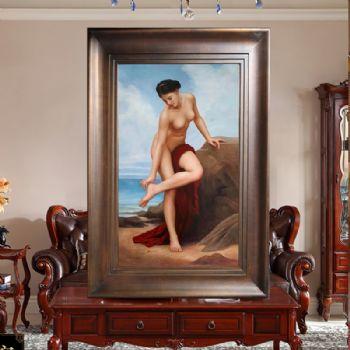 人体艺术裸画海边的女人人物油画纯手绘原创写实人物画美女油画写实人物油画