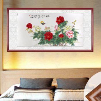 凌雪 工笔画 花开富贵 典雅红褐实木框 手绘 手工 国画牡丹客厅里挂什么画风水好