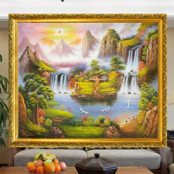 Fengshui oil painting cornucopia Qingsong Baihe waterfall wooden house hand painted line frame挂在客厅的山水画
