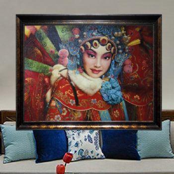 独家裂纹麻布油画 经典油画 纯手绘手工 中国国粹京剧 线条框如何进口油画