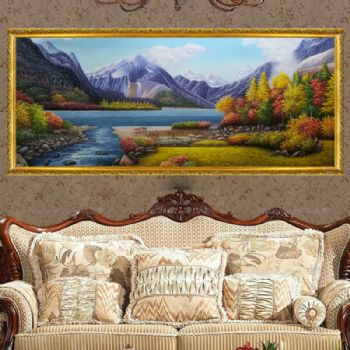 Hand painted landscape oil painting landscape oil painting decorative oil painting family hanging painting Hotel hanging painting客厅走廊挂画图片大全