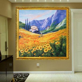 纯手绘手工 风景油画 美式油画 大自然的美 家庭挂画 酒店挂画 办公室挂画新中式挂画贴图