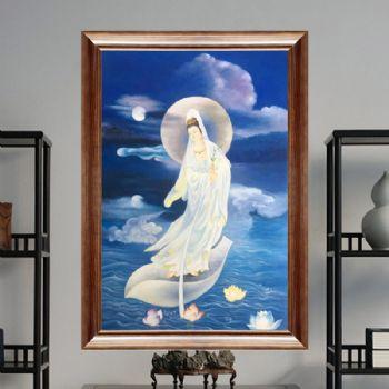纯手绘手工 宗教油画 观音大士 适合家庭挂画 酒店挂画 办公室挂画C新中式挂画