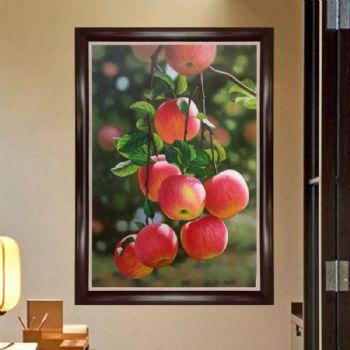 纯手绘手工 中式油画 超写实油画 红苹果 家庭挂画 酒店挂画A字画挂在客厅多高