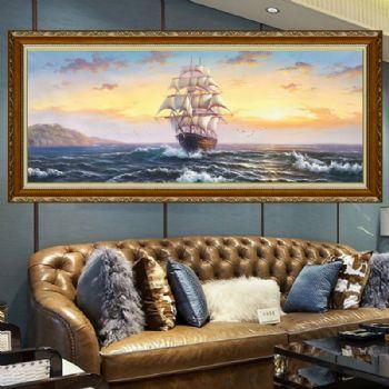 手绘油画欧式客厅挂画美式书房办公室壁画现代过道玄关画海景帆船A客厅适合挂什么画好