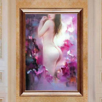 纯手绘人体艺术画裸体美女印象油画中式油画家庭挂画酒店挂画002油画人体房间挂画效果图大全