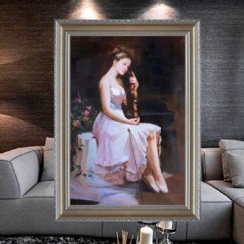 手绘抽象手捧小提琴的女孩人物油画会所装饰画客厅卧室玄关挂画适合走廊挂的油画