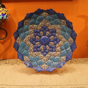 B级35CM伊朗纯手工mina盘子优美的体态和绚丽的色彩采取细密画和珐琅工艺手工 工艺品 伊朗 中东 铜胎珐琅