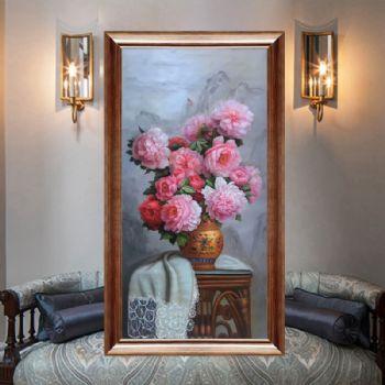 中式经典油画花卉纯手绘手工花瓶中式花卉客厅玄关挂画中式经典油画
