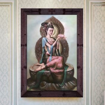 新中式玄关装饰画敦煌壁画观音手绘油画过道楼梯间挂画竖版敦煌壁画