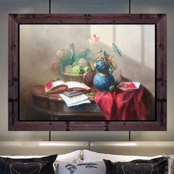 精品油画 纯手绘手工 福禄 莲子 多子多福 中式油画 家庭挂画 客厅挂画 别墅挂画精品油画 纯手绘