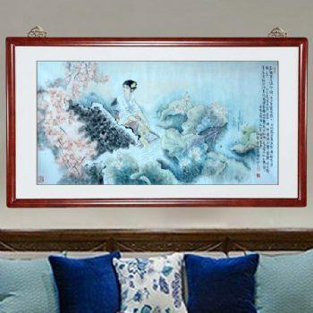 西施浣纱,张惠斌的关门弟子温素洁人物画原创手绘,支持作品与画家合影视频百分百真迹国画温素洁原创手绘
