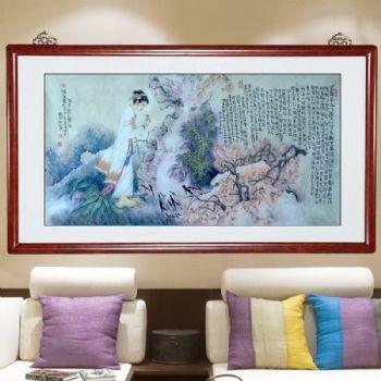 黛玉怜香图,人物画张惠斌的关门弟子温素洁原创手绘,支持作品与画家合影视频百分百真迹国画温素洁原创手绘