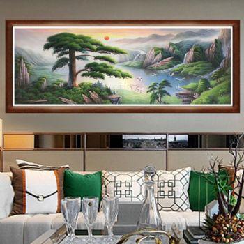 聚宝盆油画纯手绘中式山水风景客厅装饰画办公室壁画风水挂画山水风景客厅装饰画