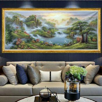 纯手绘中式油画 山水画 油画风景画 风水油画 实木框 客厅挂画 酒店大堂挂画适合客厅挂画