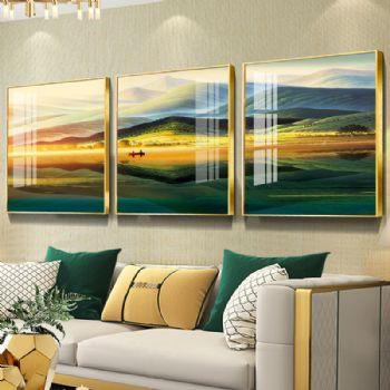 沙发背景墙装饰画客厅风水靠山招财山水三联挂画壁画巨人山晶瓷画晶瓷画装饰画