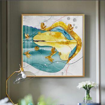 追随系列二抽象客厅装饰画北欧沙发背景墙画现代轻奢金泊玄关晶瓷画晶瓷画装饰画