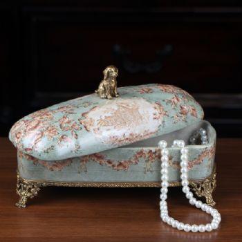 陶瓷配铜创意艺术饰品盒 美式首饰盒家居饰品彩绘瓷器桌面摆件陶瓷摆件