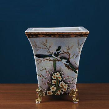 美式乡村创意花鸟彩绘陶瓷花盆 家居饰品客厅花器软装样板房摆件陶瓷摆件
