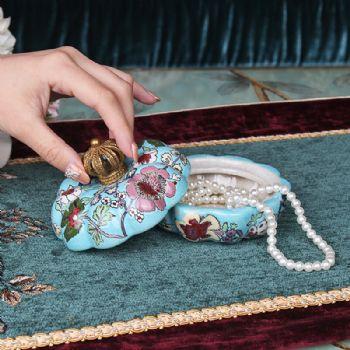 欧式复古收纳首饰盒陶瓷古典家居梳妆台摆件样板房软装饰品摆设陶瓷摆件