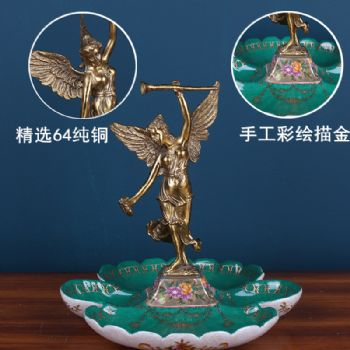 European style dried fruit dish ornaments painted ceramic inlaid copper fruit plate retro living room Angel ornaments soft furnishings陶瓷摆件