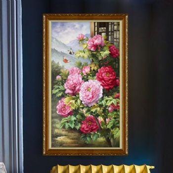 玄关油画花开富贵荣华牡丹油画手绘中式油画实木画框风景油画适合玄关挂的画