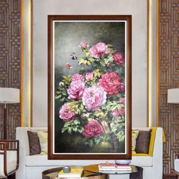 精品手绘油画中式油画富贵牡丹油画适合客厅玄关挂画实木画框油画风景花鸟画