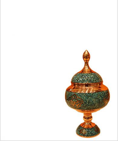 伊朗蓝松石糖罐25CM伊朗传统铜胎珐琅工艺