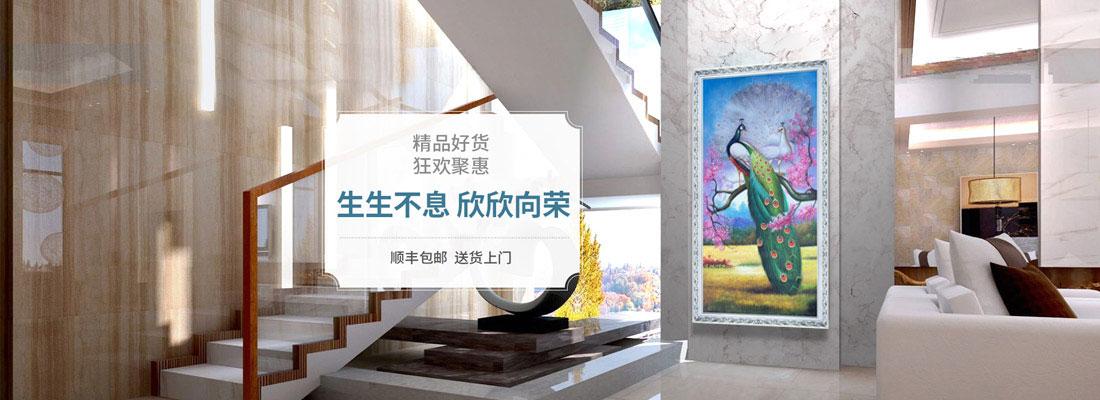 纯手工手绘油画欧式中式客厅玄关走廊卧室挂画孔雀风景有框装饰画