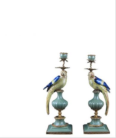 新中式工艺品鹦鹉烛台摆件陶瓷配铜古典风格