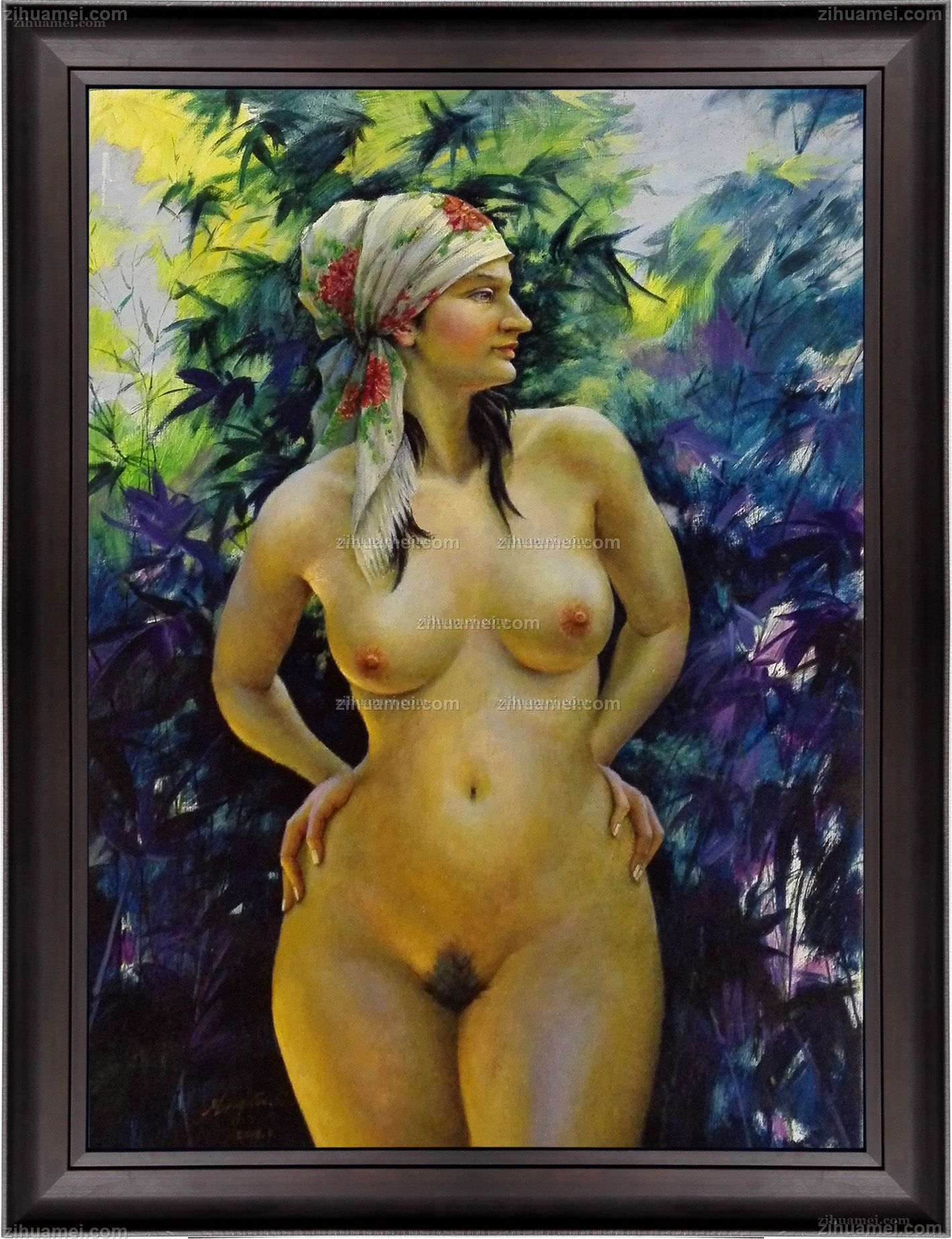 花头巾裸女实力艺术家滕戈原创油画