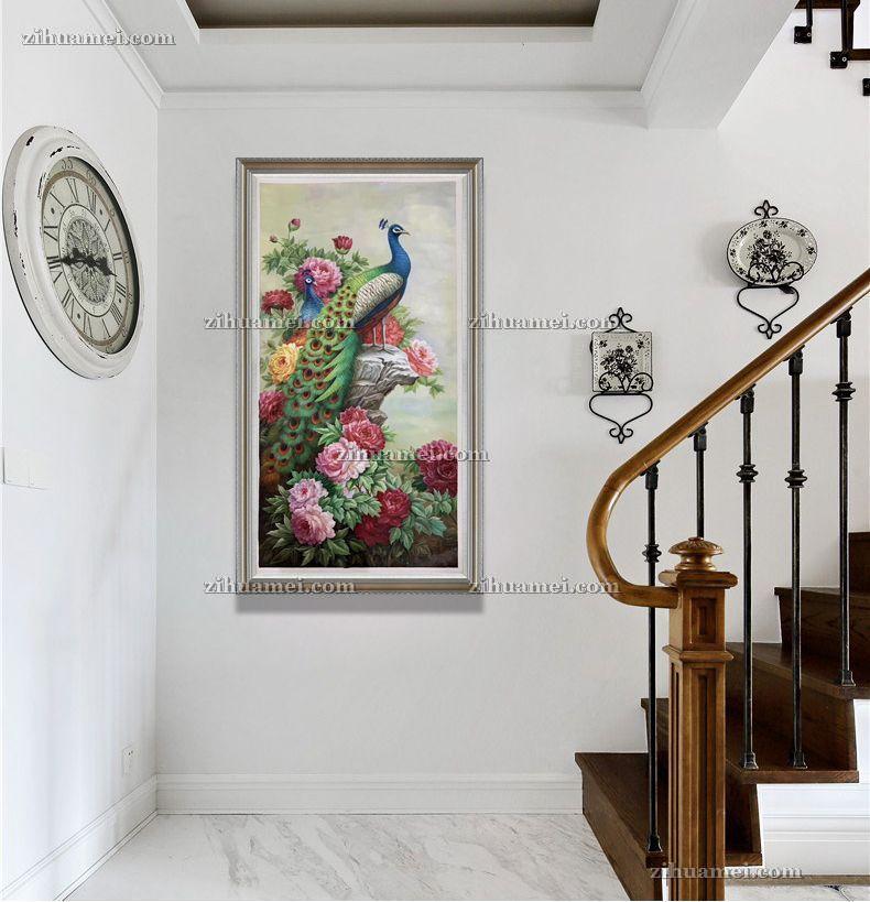 手绘孔雀油画中式客厅玄关走廊卧室挂画