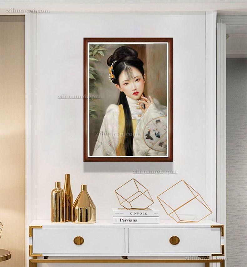 客厅人物美女油画挂画