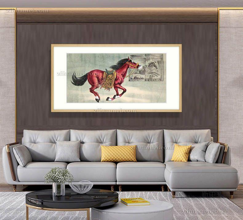 大厅适合挂的骏马动物国画