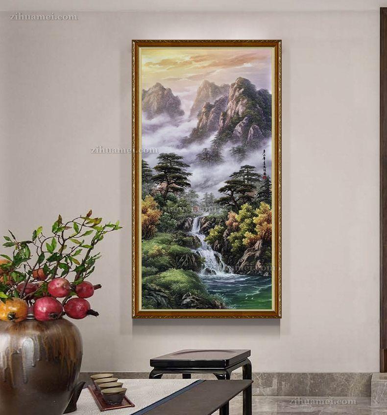 适合酒店玄关客厅的中式风水油画