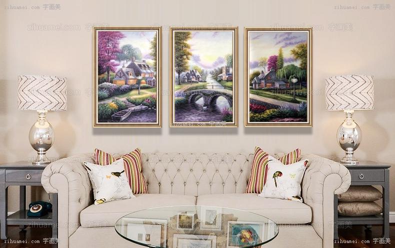 三联画 三张组合油画 风景油画