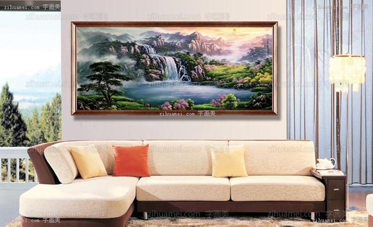 刀画 山水油画 聚宝盆 家庭挂画