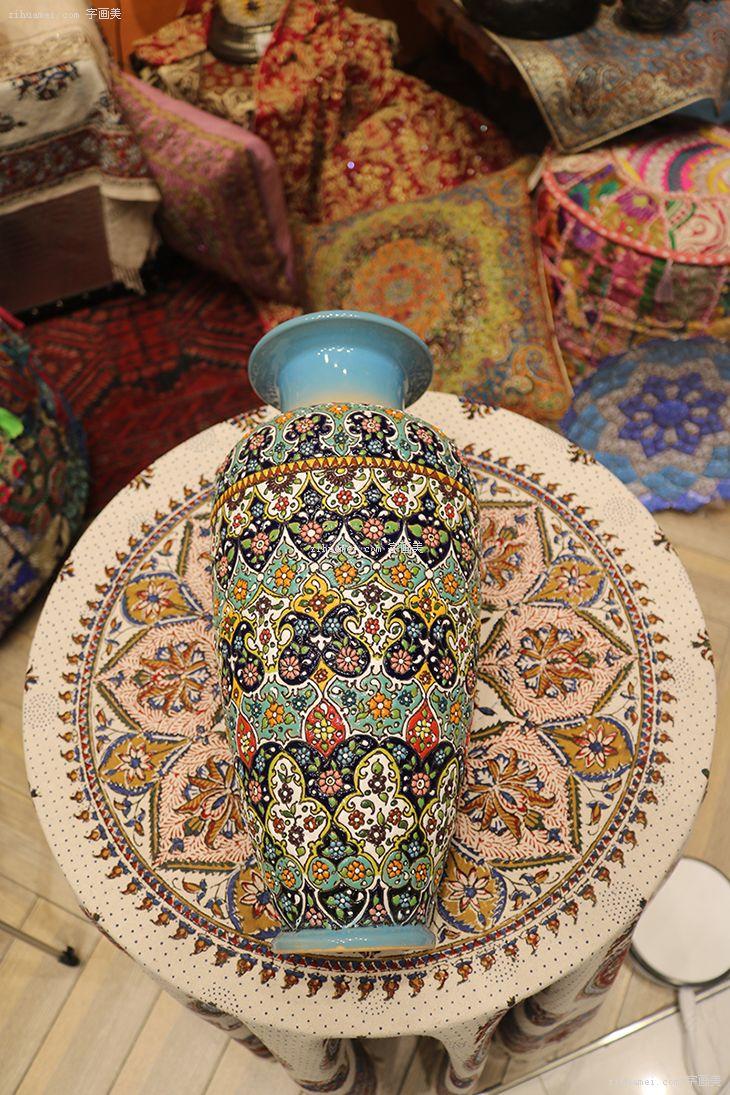 伊朗波斯纯手工艺品米娜mina陶瓷酒壶花瓶