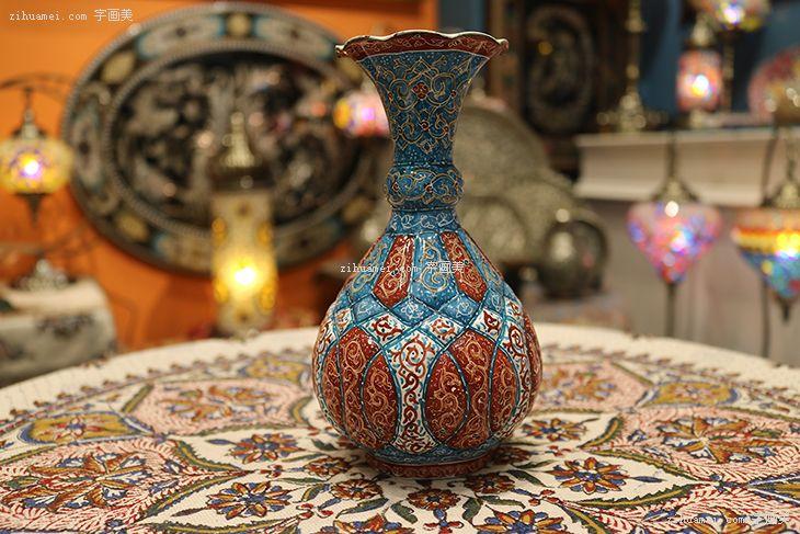 伊朗波斯纯手工艺品摆件米娜mina陶瓷酒壶花瓶