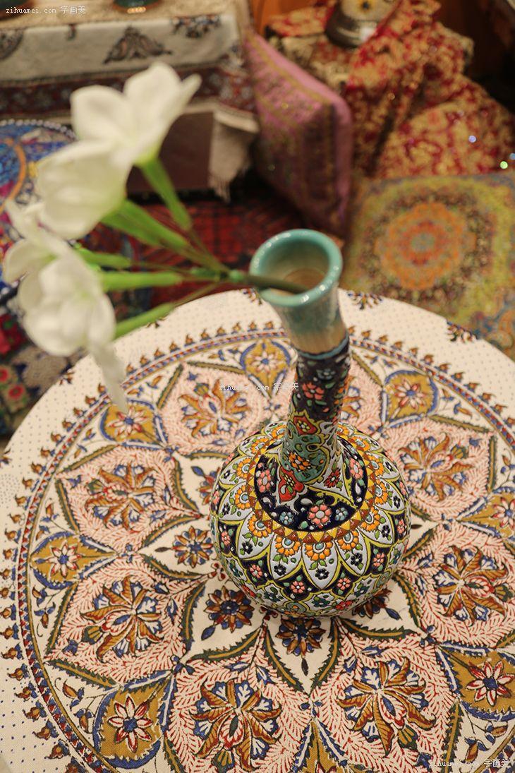 伊朗波斯纯手工艺品米娜mina陶瓷酒壶