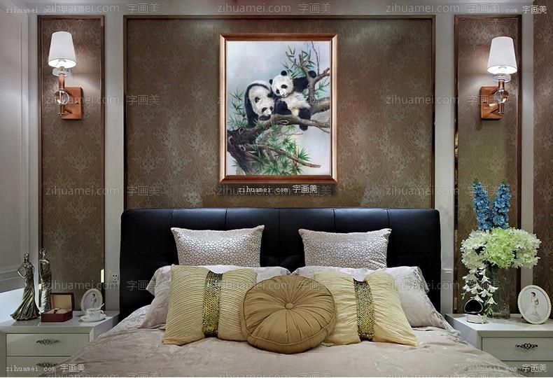 手绘油画熊猫