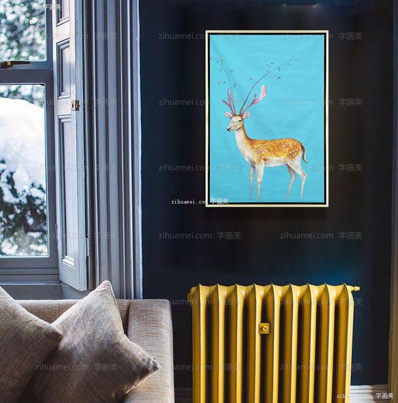 手绘油画 回头鹿